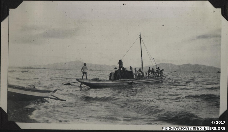 WWII PI Batangas people on boat